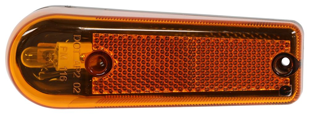 Peterson Clearance or Side Marker Trailer Light w/ Reflector - Submersible - Teardrop - Amber Lens 4L x 2W Inch M116A