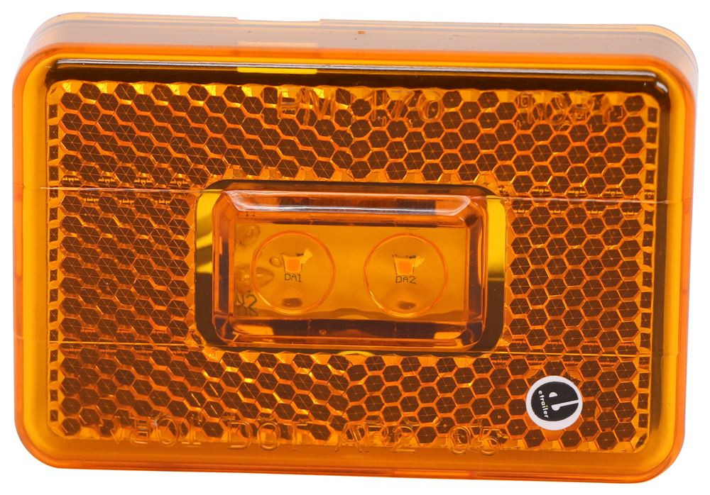 Peterson Piranha LED Clearance or Side Marker Light w/ Reflector - 2 Diodes - Rectangle - Amber Lens Surface Mount M170A