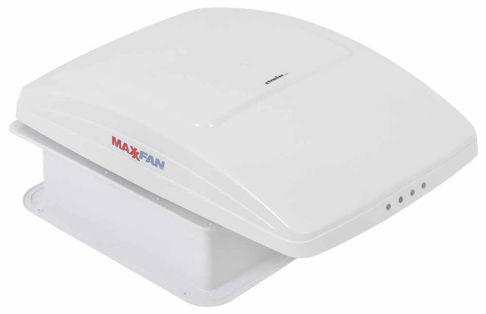 MaxxFan Deluxe Roof Vent w/ 12V Fan and Thermostat - Manual Lift - 10 Speed - White 14W x 14L Inch MA00-05100K