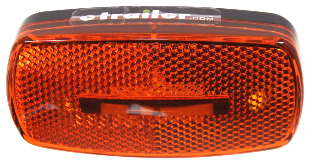 LED Trailer Clearance or Side Marker Light w/ Reflex Reflector- 3 Diodes - Black Base - Amber Lens Rectangle MCL32ABB