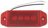 optronics trailer lights submersible 6l x 2w inch led clearance or side marker light w/ reflector - 4 diode rectangle red lens
