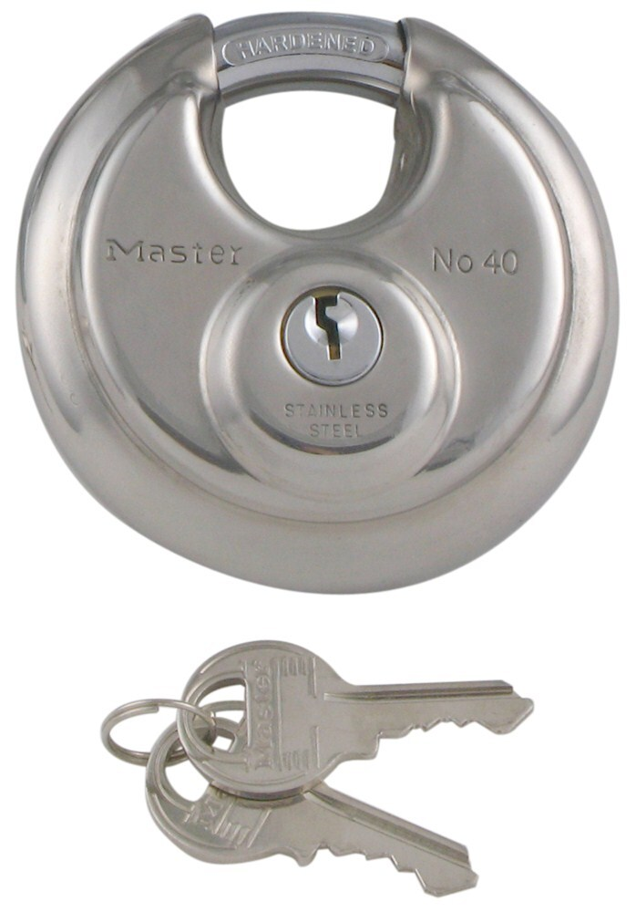 "Master Lock Stainless Steel Padlock with Shielded Shackle - 3/8"" Diameter Shackle 3/8 Inch Diameter ML40D"