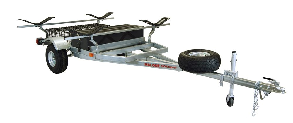 Malone MegaSport Trailer for 2 Heavy Kayaks - 2 Storage Containers - 14' Long - 1000 lbs 14L x 7W Foot MPG550-M