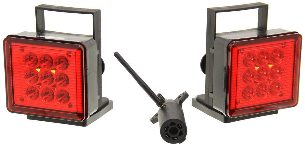 Pilot Magnetic Tow Lights - Red LEDs - 4-Way Flat and 7-Way RV Connector - Wireless Magnetic Mount NV-5164