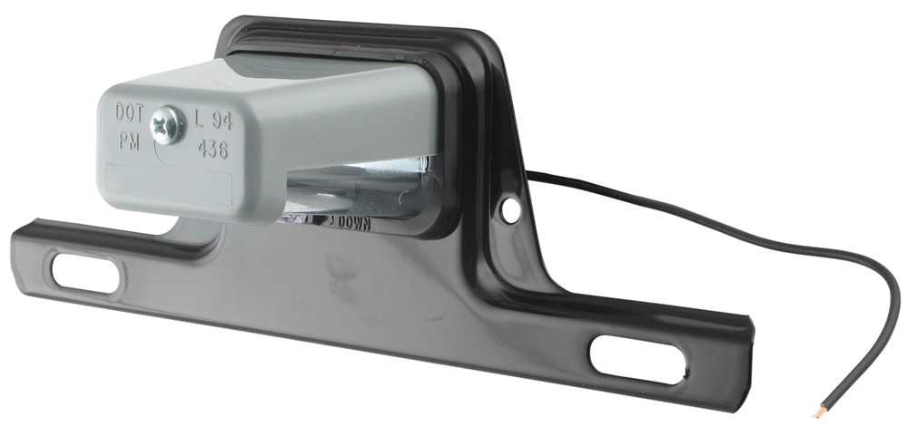 Peterson License Plate Light w/ Steel Mounting Bracket - Incandescent - Gray Housing - Clear Lens Surface Mount PM436B