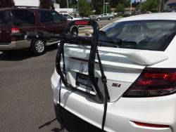 Will Yakima Halfback Trunk Mount Bike Rack Y02636 Fit Over Spoiler On 2013 Honda Civic Coupe Si Etrailer Com