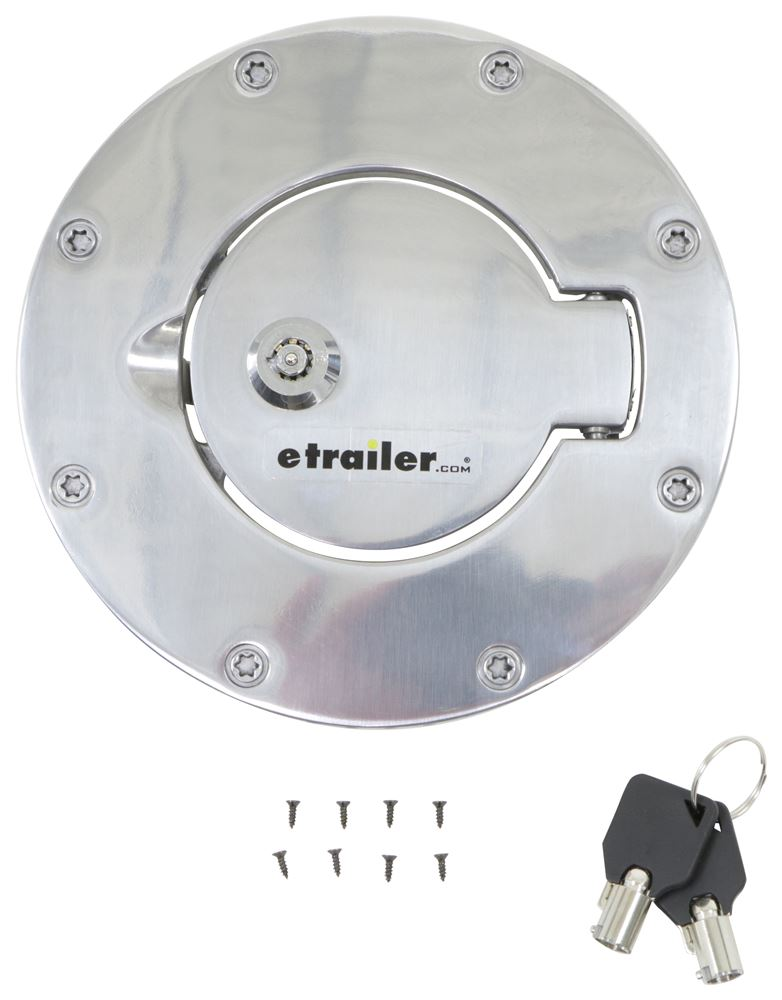 Rampage Locking, Billet Style Fuel Tank Door and Bezel for Jeep - Polished Aluminum Silver Accents RA85001
