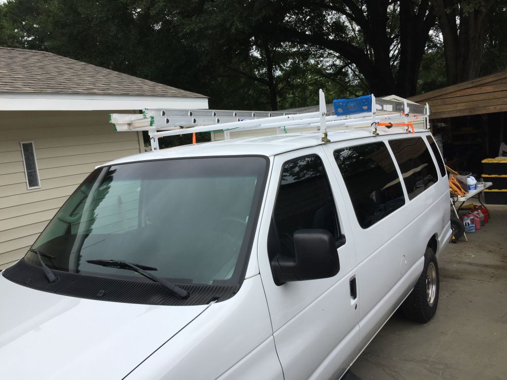 JMTAAT Universal 2 Bars Van Roof Mount Full Size Steel Ladder Rack for Chevy Express Ford GMC Savana