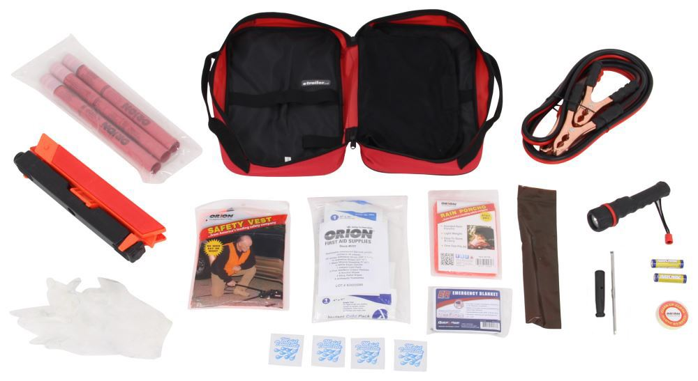 Orion Deluxe Roadside Emergency Kit with Flares, Jumper Cables, and First Aid Kit - 79 Pieces RN8901-01