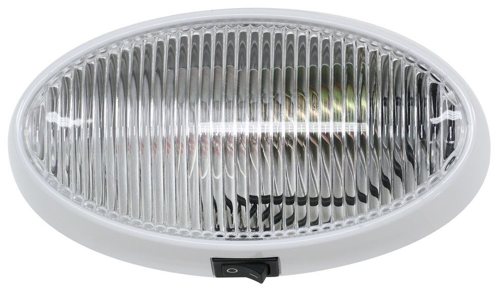 Optronics White Oval RV 12V Porch Light w// Clear Lens /& On Off Switch RVPL7C