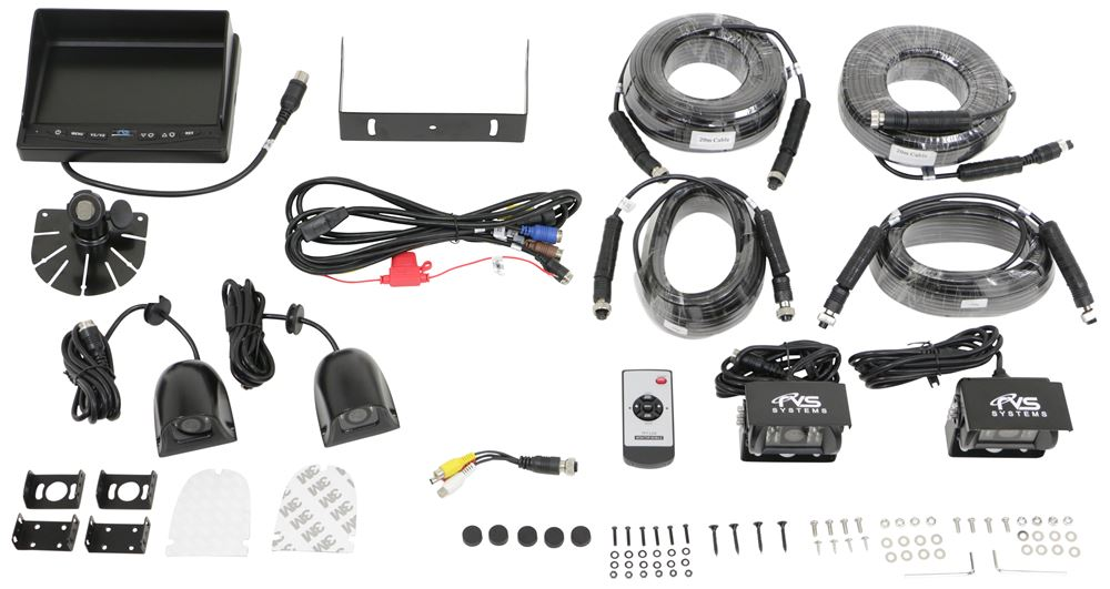 Rear View Safety Backup Camera System - 4 Camera Setup - Quad View Monitor Below Rear Clearance RVS-062710