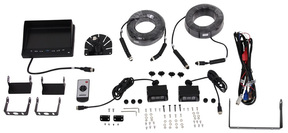 Rear View Safety Backup Camera System - 2 Camera Setup Distance Grid Lines,Mirrored Image,Night Vision RVS-770614