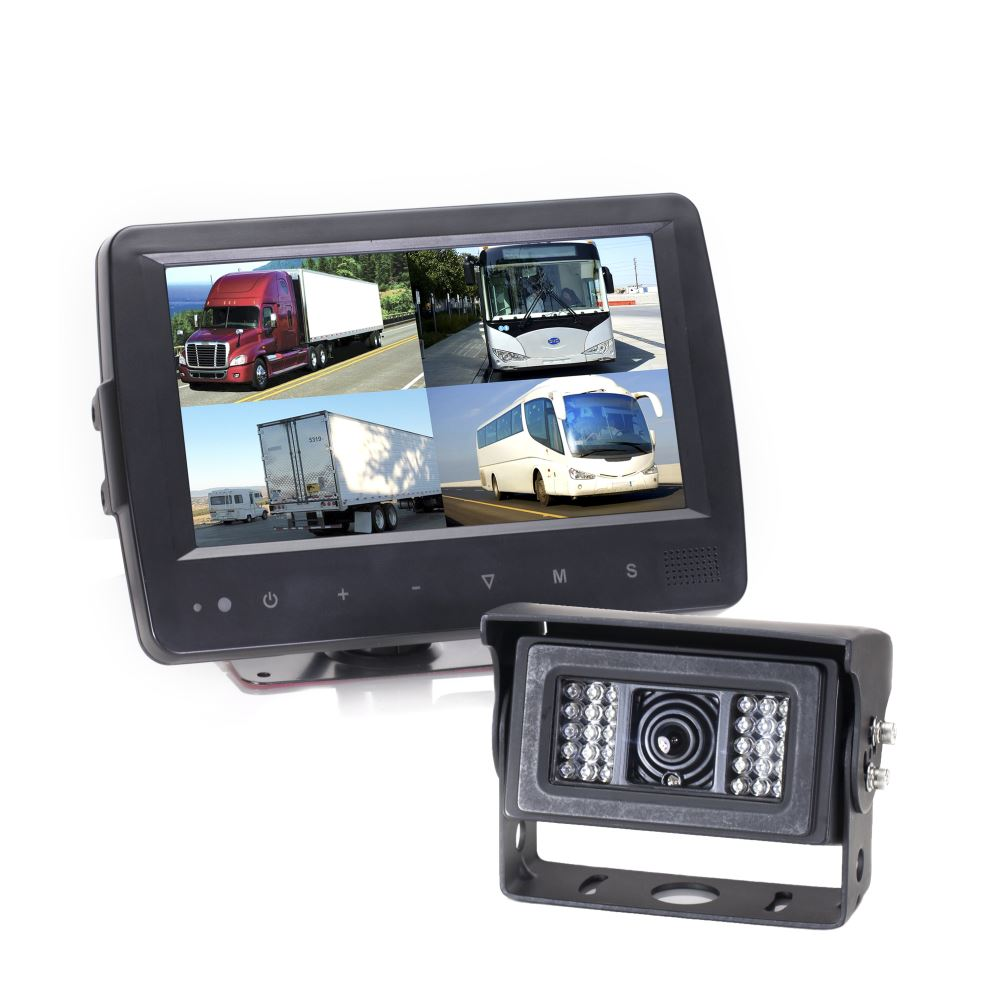 Rear View Safety Backup Camera System - Heated Camera - Weatherproof Monitor - Quad View 7 Inch Display - Quad View RVS-8129900Q