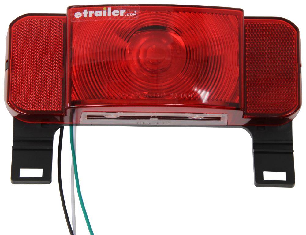 Left + Right Partsam Rectangular Red LED RV Camper Trailer Stop Turn Brake Tail Lights White License Plate Light 49 LED with License Bracket Holder and White Base 12V Sealed w Reflex Surface Mount