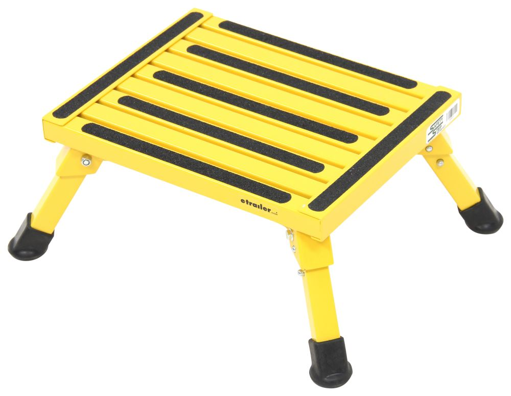 """Safety Step Folding Platform Step - Aluminum - 14"""" Long x 11"""" Wide - 1,000 lbs - Yellow Ground Contact SASS-07C-Y"""