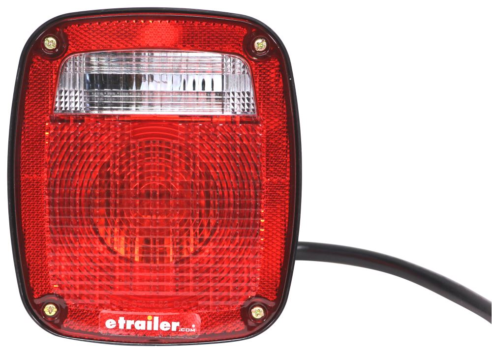 Jeep-Style Trailer Combination Tail Light - Stop, Tail, Turn, Backup, License Plate - Red/Clear Lens Incandescent Light ST60RB