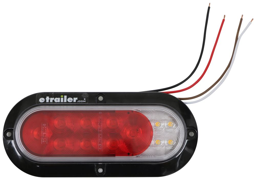 Fusion LED Trailer Tail Light - Stop, Tail, Turn, Backup - Submersible - Oval - Red/Clear Lens Surface Mount STL211XRFHB