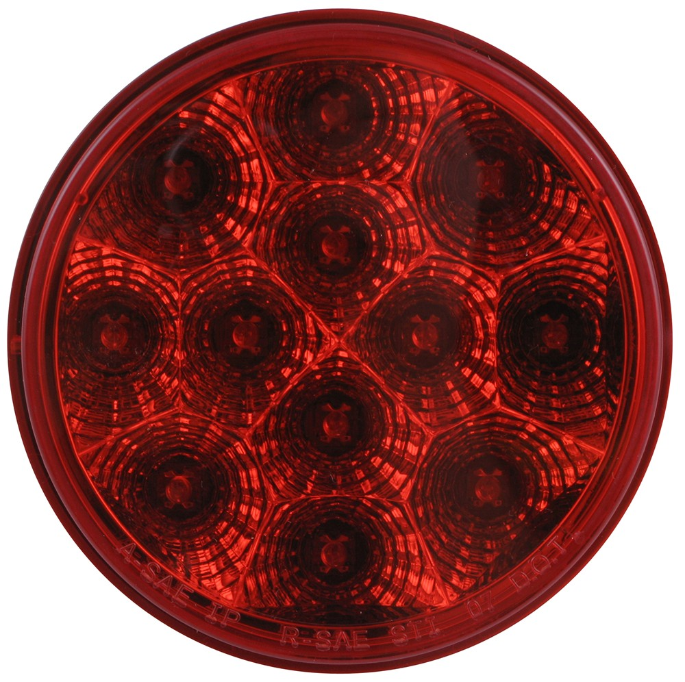 Miro-Flex LED Trailer Tail Light - Stop, Turn, Tail - Submersible - 12 Diodes - Round - Red Lens LED Light STL23RB