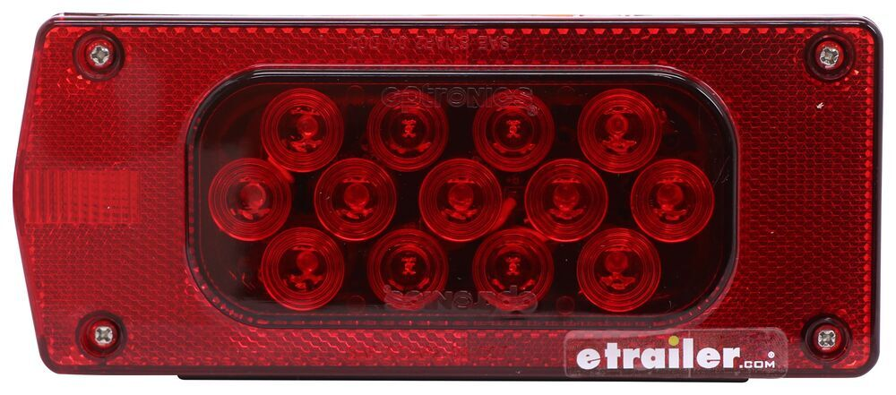 """LED Tail Light for Trailers Over 80"""" Wide - 8 Function - Submersible - 23 Diodes - Driver Side Rectangle STL37RB"""