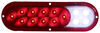 Fusion LED Trailer Tail Light - Stop, Tail, Turn, Backup - Submersible - Oval - Red/Clear Lens 10L x 3W Inch STL68RB