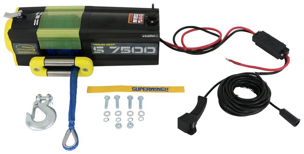 Superwinch S7500 Trailer Winch - Synthetic Rope - Hawse Fairlead - 7,500 lbs Medium Line Speed SW1475201