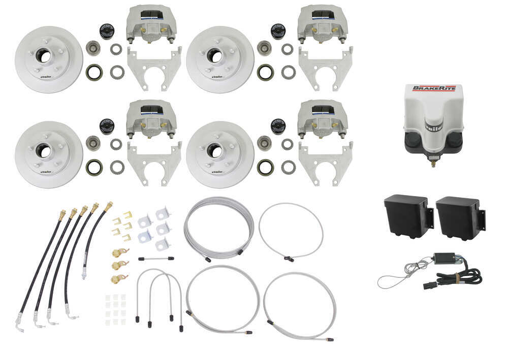 Titan Disc Brake Kit and BrakeRite Electric-Hydraulic Actuator - Tandem, 3,500-lb Axle Brake Kit with Actuator T4843800
