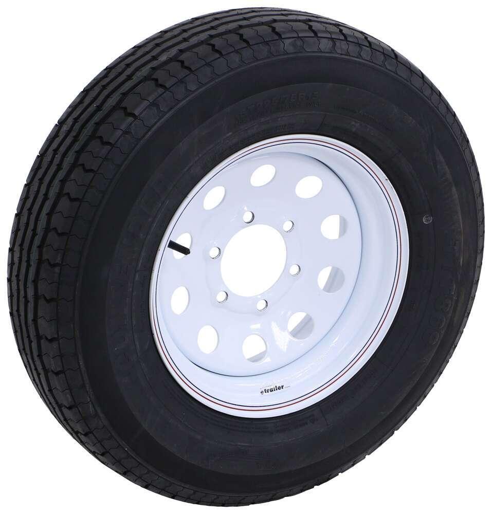 """Contender ST225/75R15 Radial Trailer Tire w/ 15"""" White Mod Wheel - 6 on 5-1/2 - Load Range D 6 on 5-1/2 Inch TA44FR"""