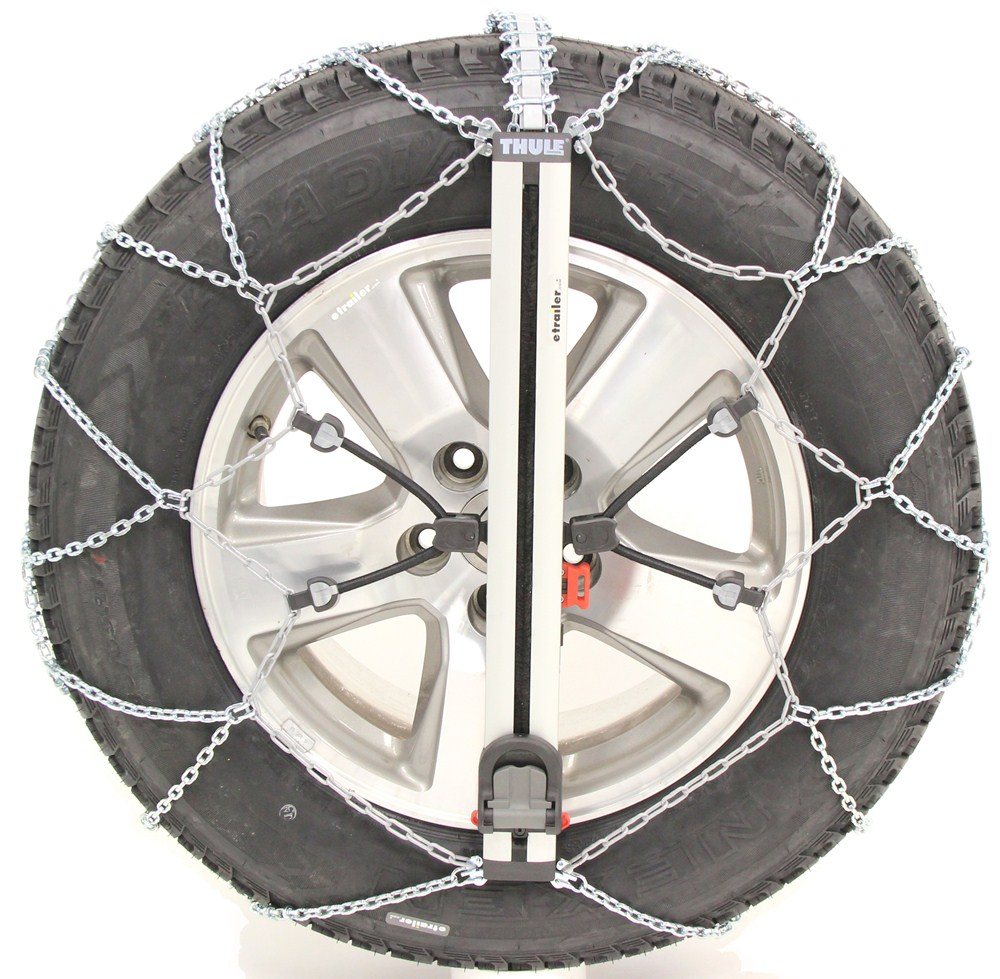 Konig Self-Tension, Low-Pro Snow Chains - Diamond Pattern - D Link - Easy Fit SUV - Size 250 Rim Protection TH04115250