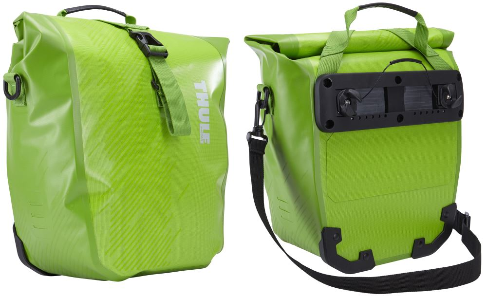 Thule Pack 'n Pedal Shield Pannier Bags for Bike Racks - 14 Liters - Chartreuse - Qty 2 10H x 5-1/2W x 12-1/4D Inch TH100067