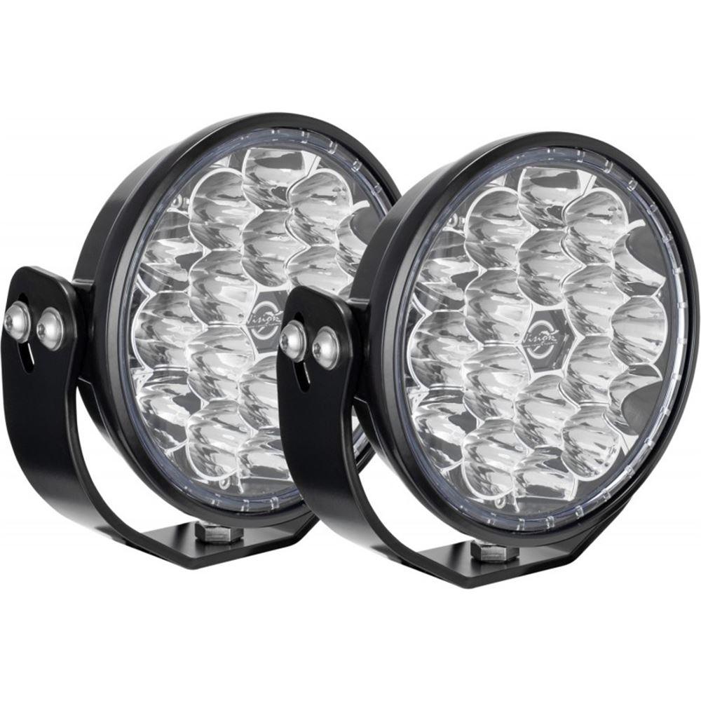 Vision X VL Series Off Road LED Driving Light Kit - 12,222 Lumens - Broad Spot Beam - Round - Qty 2 Black VWR041810WFKIT