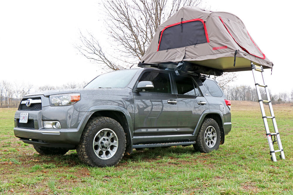 Yakima SkyRise HD Tent for Roof Rack Crossbars - 3 Person - 600 lbs - Tan and Red 3 Person Y07437